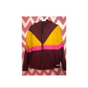 Burgundy pink and yellow pink jacket